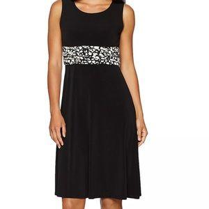 Jessica Howard Dress Black Sheath Ruched Waist NEW